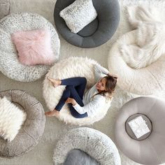 Comfy Oversized Chair With Ottoman Bedroom Chair, Bedroom Decor, Laminated Veneer Lumber, Big Comfy Chair, Le Cloud, Bean Bag Sofa, Zen Room, Round Chair, Bedrooms