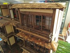 Making the shingles and adding the awnings to the right side porch. #japanese #ryokan #dollhouse