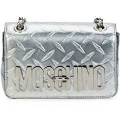 Moschino Metallic Leather Shoulder Bag ($1,355) ❤ liked on Polyvore featuring bags, handbags, shoulder bags, silver, leather handbags, leather flap handbag, chain strap shoulder bag, leather purse and woven leather handbag