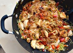 Skinny Szechuan chicken with rice noodles