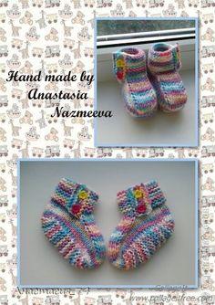 Гардероб Мастер-класс Вязание спицами Очень простые пинеточки для малыша подробный МК Нитки Пуговицы фото 1