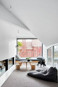 A Home Designed For Connection (The Design Files) Dark Accent Walls, White Walls, Contemporary Windows, Brick Construction, The Design Files, Architecture Design, Australian Architecture, Home And Family, House Design