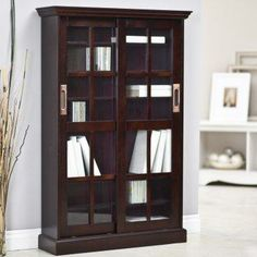 Southern Enterprises Media Cabinet / Paperback Bookcase with Sliding Door - Espresso - Add a touch of sophistication to your family room with the Window Pane Cabinet with Sliding Doors in Espresso unit. This storage cabinet is finished i. Bookcase With Glass Doors, Glass Cabinet Doors, Sliding Glass Door, Sliding Doors, Tempered Glass Door, Modern Bookcase, Contemporary Doors, Bookshelf Design, Media Cabinet