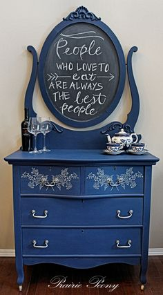 Converted harp mirror dresser done in Annie Sloan Napoleonic Blue with stenciled drawers. Mirror painted with chalkboard paint.