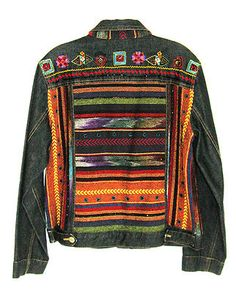 Chicos Sz 1 (8-10) Anniversary Collection Beaded Embroidered Denim Jean Jacket for sale on eBay $139 ... but what an idea for decorating a Levi Jacket, yes?  So pretty!!!