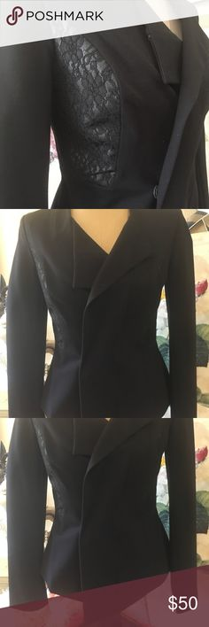 """Cache black part lace cropped jacket stunning Sz 6 GORGEOUS Cache size 6 in EUC black jacket with lace inserts. Zips up and Aldo has snap in front. Fully lined. Photos do not do this jacket justice. Exquisite quality!! 17 1/2"""" arm pit to arm pit, shoulder to back hem 23 1/2"""", shoulder to longest front hem peak 26"""". About 15 1/2"""" across waist zipped, zips all way up but looks better half zipped. 75 rayon, 16 nylon, 9 spandex. Lace is 50 polyester, 30 nylon, 20 percent cotton. This is one…"""