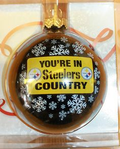 Pittsburgh Steelers Black Glass Ornament Christmas NEW Your in Steelers Country