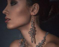 Baroque | Lace Earrings | Long Statement Lace Earrings | Handmade Idrija Bobbin Lace Jewelry