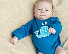 Long Sleeve Organic Whale Applique Organic Baby by GrowingUpWild, $28.00