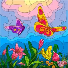 Adult Coloring, Coloring Pages, Happy Colors, Pikachu, Art Pieces, Butterfly, Creative, Painting, Fictional Characters