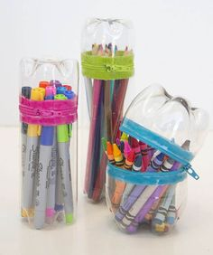 Give markers, colored pencils, and crayons a travel-friendly container (not like those cardboard boxes that tear and fall apart). The bottle exterior gives it structure, while colorful zippers makes it sealable. Get the tutorial at Make It & Love It » - HouseBeautiful.com
