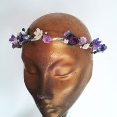 Lilac and Purple Whimsical Flower Wreath by  www.bloomingloopy.com