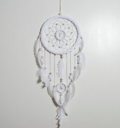 Large White Dream Catcher White feathers by MagicalSweetDreams