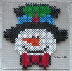 Winter snowman hama perler beads by Les Loisirs de Pat