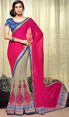 Envelope yourself in a plethora of eternal bliss with this beige and fuchsia chiffon georgette half n half saree. The ethnic lace, resham and stones work on saree adds a sign of magnificence statement with your look. #GorgeousTrendsetterSaree