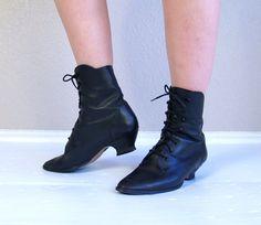 vtg 80s black VICTORIAN lace up ANKLE BOOTS by TigerlilyFrocks