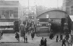 This picture shows commuters milling around the entrance to Clapham Junction around 1906. The station was originally called Falcon Junction when it opened in 1863.