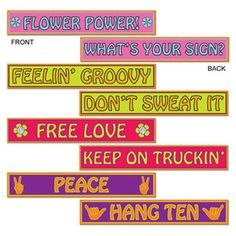 60's & 70's Street Sign Cutouts - 60s & 70s Hippie Party Decorations Supplies