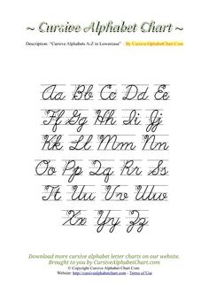 Uppercase & Lowercase Cursive Alphabet Charts with Arrows in PDF More Cursive Uppercase Letters, Cursive Alphabet Chart, Cursive Handwriting Practice, Alphabet Tracing Worksheets, Handwriting Analysis, Lowercase A, Handwriting Worksheets, How To Write Calligraphy, Arrows