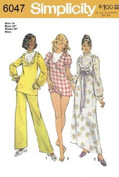 Simplicity 6047 Misses 70s Nightgown in Two Lengths Panties and Pajamas Size 14 Bust 36 by Denisecraft on Etsy