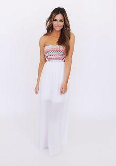 White/Tribal Top Strapless Maxi Dress - Dottie Couture Boutique
