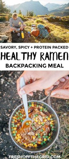 Forget the ramen from your college days this revamped version is on a whole other level. Protein-packed soba noodles veggies and a savory spicy broth this is a backpacking meal that you will look forward to all day on the trail! Trekking Food, Hiking Food, Backpacking Food, Camping Meals, Camping Recipes, Camping Hacks, Family Camping, Camping Cooking, Ultralight Backpacking
