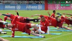 Stretching, czyli ćwiczenia rozciągające na przykładzie Bayernu Monachium • Przykładowe ćwiczenia poprawy i podtrzymania poziomu gibkości #stretching #rozciaganie #trening #pilkanozna #futbol #sport #bayern #bayernmunich