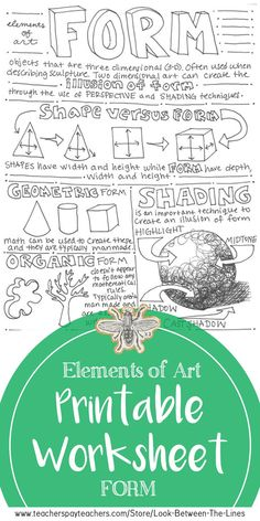 Form Elements of Art Printable Worksheet: Middle School Art, High School Art This printable element of art worksheet is perfect for last minute sub plans, early finishers, or to test your students understanding of the element of art, form. Art Education Projects, Art Education Lessons, Art Projects For Teens, Education Quotes, Middle School Art Projects, High School Art, School Projects, Art Classroom Management, Classe D'art