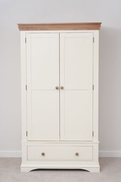 Country Cottage Painted Funiture Bedroom | Cream Double Wardrobe Oak Furniture Land www.oakfurnitureland.co.uk