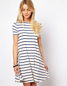 Spring 2015 casual fashion dresses. Stripped white and blue Swing dress look.