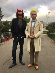 """David Tennant And Michael Sheen As Crowley And Aziraphale From """"Good Omens"""" Watch The World Burn, Good Omens Book, Michael Sheen, Terry Pratchett, Neil Gaiman, Crowley, David Tennant, Best Couple, Movies And Tv Shows"""