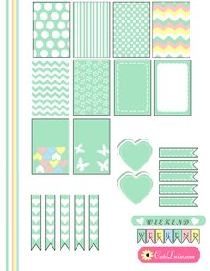 Free Printable Planner Stickers in nice pastel or marshmallow colors. I have made these stickers for both Erin Condren and Happy Planner.
