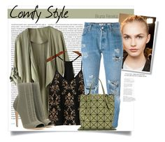 """""""Comfy Style"""" by ferreirabruna ❤ liked on Polyvore featuring Oris, WithChic, Gianvito Rossi, Levi's and Bao Bao by Issey Miyake"""