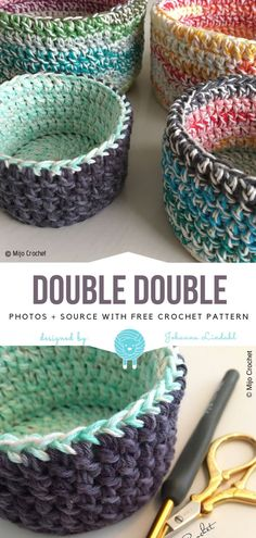 Great Crochet Baskets Free Patterns 2019 Double Double Free Crochet Pattern The post Great Crochet Baskets Free Patterns 2019 appeared first on Yarn ideas. Crochet Double, Crochet Simple, Crochet Diy, Crochet Home, Crochet Crafts, Yarn Crafts, Crochet Bags, Crochet Projects To Sell, Crochet Storage