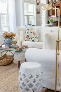 Spring Living Room Refresh {with video} - The Home I Create Moving To Tennessee, Room Tour, Decorating Blogs, Home Decor Items, House Tours, My House, Accent Chairs, Shabby Chic, Blue And White