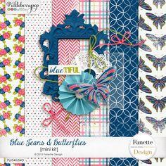 Quality DigiScrap Freebies: Blue Jeans & Butterflies mini kit freebie from Fanette Design