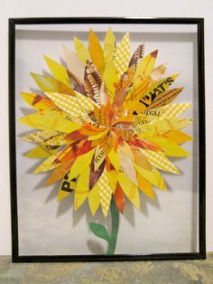 Paper Flower Collage 8x10 Framed Yellow Dahlia on Etsy
