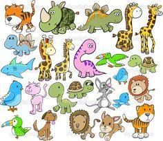 可爱动物矢量图设计元素设置 — 图库插图 #8404450