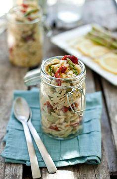 Jar with pasta salad