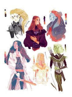 "cy-lindric: "" ""Colour Palette Meme : Tolkien edition, part 1 ! "" Sauron in 10 for anon - Varda in 6 for i-gwarth​ - Maedhros in 12 and Luthien in 7 for beesarealiens​ - Feanor in 18 for sathinfection​. Character Drawing, Character Illustration, Character Concept, Concept Art, Illustration Art, Pretty Art, Cute Art, Ange Demon, Character Design References"
