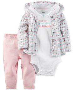 Carter's dresses baby girl in a sweet mix of a peplum hoodie, graphic bodysuit and pull-on pants with this comfy three-piece set. | Hoodie, bodysuit, and pants: cotton | Machine washable | Imported |