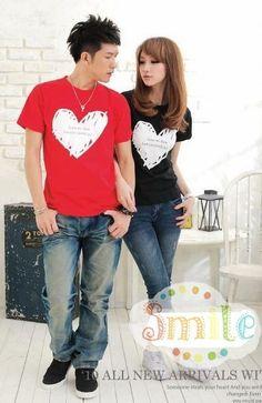 Hot Sale Loving Heart Pattern Round Collar Couple ... on @ClozetteCo