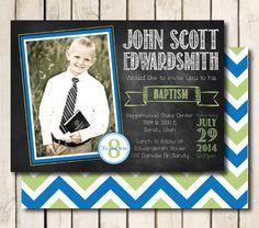 LDS Baptism Invitation Printable for Boys - Chalkboard Style - Any Color Scheme