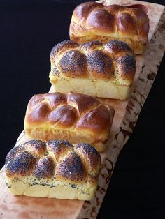Mini Challah Loaves from The Prepared Pantry by Thibeault's Table: Uses bread flour, eggs and honey. Makes four mini-loaves in 3 x 5 1/2-inch pans.  Can refrigerate for a day to bake later.