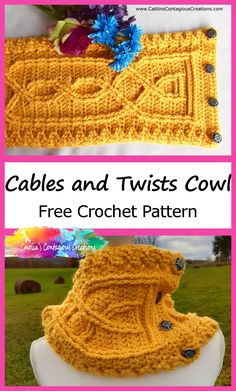 Cables and Twists Cowl Crochet Pattern Intermediate Design Knotted Cables Double Treble Stitch Post Crossed Stitch Neck Warmer Unique Unisex Crochet Patterns For Beginners, Easy Crochet Patterns, Crochet Designs, Cowl Patterns, Knitting Tutorials, Knitting Ideas, Free Knitting, Stitch Patterns, Knitting Patterns