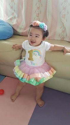 Gold Unicorn Birthday Outfit - Pastel Rainbow Unicorn Tutu Set - Pastel Unicorn - Ribbon Tutu Outfit - First Birthday Dress - Unicorn Outfit