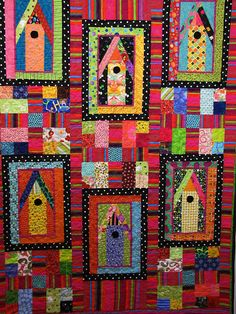 Another of my favorite things...bird houses. These look so happy in the bright fabrics.