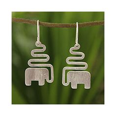 Sterling Silver 'Trumpeting Elephant' Dangle Earrings (Thailand) | Overstock.com Shopping - Great Deals on Novica Earrings