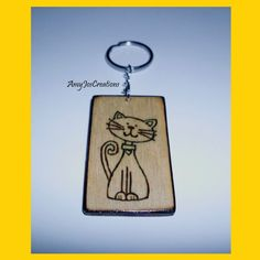 Wood-burned Cat Key-chain