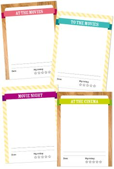Ive made 4 movie inspired journaling cards for you Project Life or scrapbook. Download link on the bottom of this entry. Enjoy!